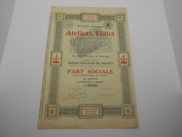 """Part Sociale """"Les Ateliers Gillet""""Herstal Liège  1929  (industrie Automobiles,cyclomoteurs Voitures,side Cars,). - Cars"""