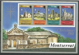 Montserrat 1981  Christmas: Churches, Mi 476-479 In Bloc 25 MNH(**) - Montserrat