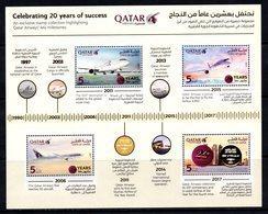 2017 QATAR AIRWAYS CELEBRATING 20 YEARS OF SUCCESS SOUVENIR SHEET MNH ** - Qatar