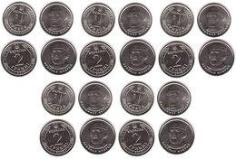 Ukraine - 5 Pcs X Set 2 Coins 1 + 2 Hryvni 2019 UNC Lemberg-Zp - Oekraïne