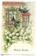 OISEAUX Et FLEURS - Muguet - CARTE GAUFREE - Bonne Année - Série 632 - Oiseaux