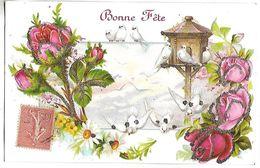 OISEAUX Et FLEURS - Roses - CARTE GAUFREE Et PAILLETEE  - Bonne Fête - Oiseaux
