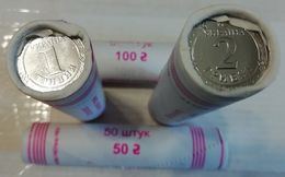 Ukraine - 100 Pcs X Set 2 Coins 1 + 2 Hryvni 2019 UNC Roll Lemberg-Zp - Oekraïne