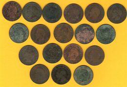 Monnaie  Française Lot De 18 Pièces 5 Centimes Napoléon III Tête Nue G.152 Nombreuses Combinaisons Différentes - Frankrijk