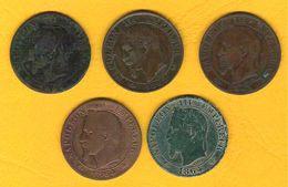 Monnaie Française Lot De 5 Pièces 5 Centimes Napoléon III Tête Laurée G.155 Dont 1863BB - France