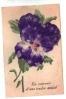 CPA Lot 2 Cartes Fantaisie Relief Fleurs PENSEE Ajoutis En Tissu Souvenir Tendre Amitié Paillettes Fantasy Flower - Bloemen