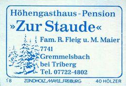 """1 Altes Gasthausetikett, Höhengasthaus-Pension """"Zur Staude"""",Fam. R. Fleih U. M. Maier,7741 Gremmelsbach Bei Triberg #862 - Matchbox Labels"""