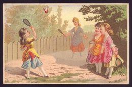 Cartão Publicidade LOJA MODAS - Rua Aurea 269 LISBOA Portugal. Old Victorian Trade Card CHROMO VTC Badminton 1880s - Cromo
