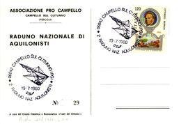 Italia 1980 Campello Sul Clitunno (PG) 2° Raduno Naz.le Di Aquiloni Aerofilatelia Annullo Cartolina. - Transports