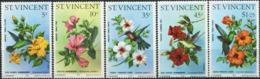 SAINT VINCENT 1976 Hummingbirds And Hibiscus Flowers Birds Animals Fauna MNH - Colibris