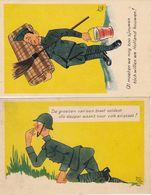 1501/ 2x Getekende Kaart, Militairen, Jan V.d. Weg, 1939 - Humoristiques
