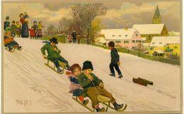 Kinder Rodeln Im Winter Den Hügel Hinunter - Paul Hey Litho - Sonstige