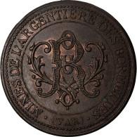 France, 5 Centimes, Mines De L'argentiere Des Bormettes (Var), 1887, SUP, Cuivre - Otros