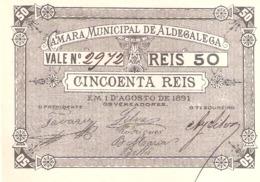 Portugal, Cincoenta Reis, Câmara Municipal  Aldegalega - UNC - Portugal