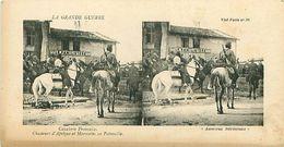 LA GRANDE GUERRE - CAVALERIE FRANCAISE - CHASSEURS D'AFRIQUE ET MAROCAINS EN PATROUILLE - Stereoscope Cards