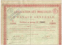 Titre Ancien - Liquidation Des Immeubles De La Banque Générale - Titre De 1871 - - Bank & Insurance
