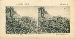LA GRANDE GUERRE - COURTACON (S ET M) APRES LE BOMBARDEMENT - Stereoscope Cards
