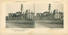 LA GRANDE GUERRE - HÔTEL DE VILLE DE LAHEYCOURT (MEUSE) APRES LE BOMBARDEMENT - Stereoscope Cards
