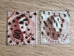 N° 16B Lot De 2 Timbres Médaillons 40c Dentelés Pour études Diverses 2 Teintes Différentes TB - 1863-1864 Medallions (13/16)