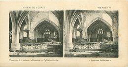 """LA GRANDE GUERRE - L'OEUVRE DE LA """"KUILURE"""" ALLEMANDE - EGLISE BOMBARDEE - Stereoscope Cards"""