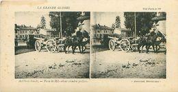 LA GRANDE GUERRE - ARTILLERIE LOURDE - PIÈCE DE 155 ALLANT PRENDRE POSITION - Stereoscope Cards