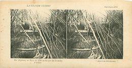 LA GRANDE GUERRE - EN ARGONNE - PIÈCE DE 270 CACHÉE PAR DES BRANCHES D'ARBRES - Stereoscope Cards