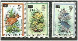 Montserrat 1989 Fishes  Mi Officials 81-83 MNH(**) - Montserrat
