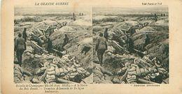 LA GRANDE GUERRE - BATAILLE DE CHAMPAGNE (1915) - A LA LISIÈRE DU BOIS BRICOT -TRANCHÉE ALLEMANDE DE 1ERE LIGNE - Stereoscope Cards