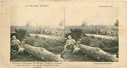 LA GRANDE GUERRE - BATAILLE DE CHAMPAGNE (1915) - L'ASSAUT A LIEU VICTORIEUX- LES RÉSERVES ATTENDENT LEUR TOUR DE DONNER - Stereoscope Cards