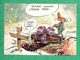 Carte Postale Bonne Année 1987 / 1988 Cauvin Pierre Tombal Bande Dessinée Spirou - Comics