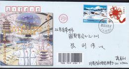 CHINA CHINE CINA  SHANDONG JINAN TO JIANGSU CHANGZHOU COVER  WITH ANTI COVID-19 INFORMATION - Covers & Documents
