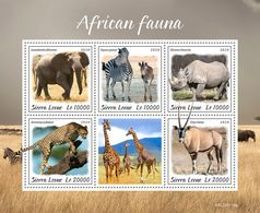 Sierra Leone 2020 African Fauna,elephant ,zebra ,rhino, Giraffe S202003 - Sierra Leone (1961-...)