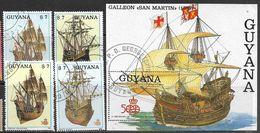 Guyana   1988   Sc#1867-9  Ships Set & Souv Sheet  Used  2016 Scott Value $24 - Guyana (1966-...)