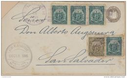 O) 1895 EL SALVADOR, UPRATED SANTA ANA, COAT OF ARMS 2c, COAT OF ARMS 1c, POSTAL STATIONERY 1c - STATIONARY, ALB T AUGSP - El Salvador