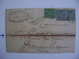 FRANCE - LETTER SENT FROM PARIS TO PERNAMBUCO (BRAZIL) IN 1879 IN THE STATE - Unclassified