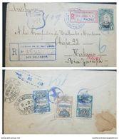 O) 1908 EL SALVADOR, PEDRO JOSE ESCALON OVERPRINTED - NATIONAL PALACE SCT 358 5c - 355 1c - 364 26c - CERTIFIED VIA ZACA - El Salvador