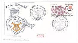 Saint-Pierre & Miquelon - Enveloppe FDC Centenaire De La Lyre Saint-Pierraise - CAD 21 Juin 1991 - Timbre YT 545 - FDC