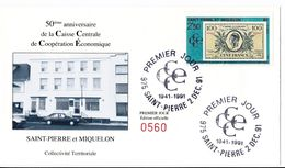 Saint-Pierre & Miquelon - Enveloppe FDC 50 Ans De La Caisse Centrale - CAD 2 Décembre 1991 - Timbre YT 551 - FDC