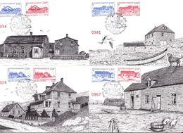 Saint-Pierre & Miquelon - Lot 4 Cartes Maximum 1er Jour Images Du Passé - CAD 1991 - Timbres YT 537/38/39/40/41/42/43/44 - Maximumkaarten