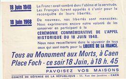 Très Rare Tract En Commémoration Du 18 Juin 40 Et évenement De Mai 68 à Caen Général De Gaulle - 1939-45