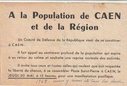 Très Rare Tract Comité De Défense De La République Caen évènements De Mai 68 Général De Gaulle - 1939-45