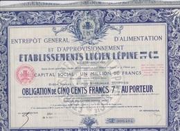 ACTIONS TITRES OBLIGATION 1921 - Entrepôt Général D'Alimentation Et D'Approvisionnement - LUCIEN LEPINE & Cie SUIPPES - Russia