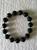 New Handmade Black Onyx Faceted Natural Stretch Bracelet 12 Mm - Bracelets