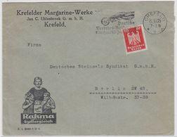 """Deutsches Reich Brief Der Krefelder Margarinen-Werke """"Rahma"""" Mit Kleinstempel """"Crefeld"""" - Deutschland"""