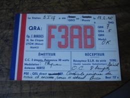 Publicite S L R 1936 Lyon Bordes F3ab Carte Qsl Radio Amateur - Radio Amatoriale
