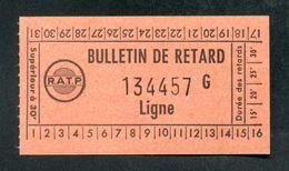 Ticket De Metro Paris - Bulletin De Retard RATP - Années 60/70 - RER - Billet Métropolitain - Other