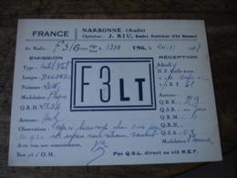 1937  Narbonne J Riu F3lt Carte Qsl Radio Amateur  Timbre Vignette - Radio Amatoriale