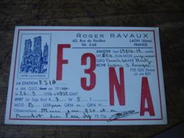 1936 Decor Cathedrale Laon Roger Ravaux F3na  Carte Qsl Radio Amateur - Radio Amatoriale