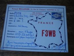 1938 Nantes Fernand Bellanger F3wb  Carte Qsl Radio Amateur - Radio Amatoriale