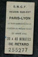 Ticket De Retard - Gare De Paris-Lyon SNCF - Années 70 - Ticket De Train - Ticket Type Edmondson - Transportation Tickets